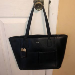 Ralph Lauren Newbury leather pocket shopper tote